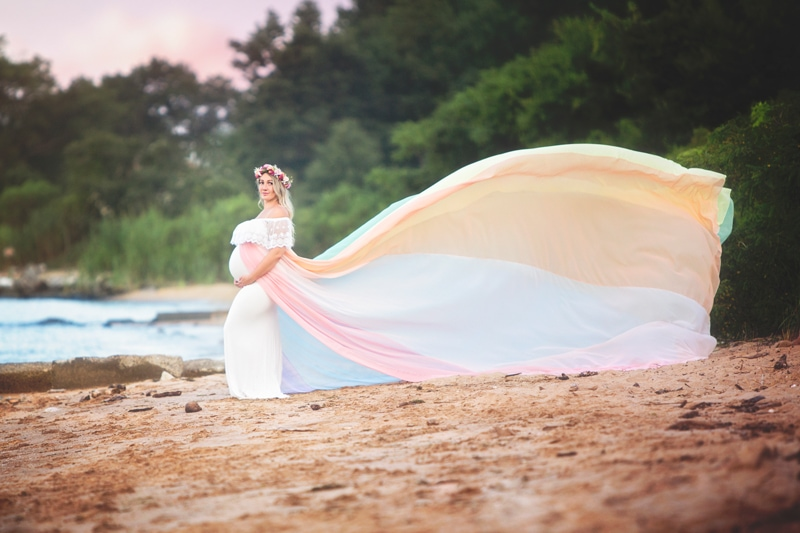 Maternity Photographer, woman with long flowing dress