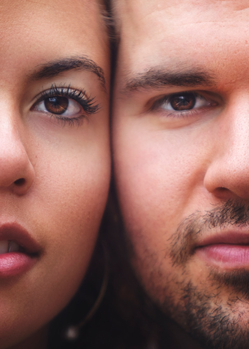 Couples Photographer, close up of man and woman's faces side by side